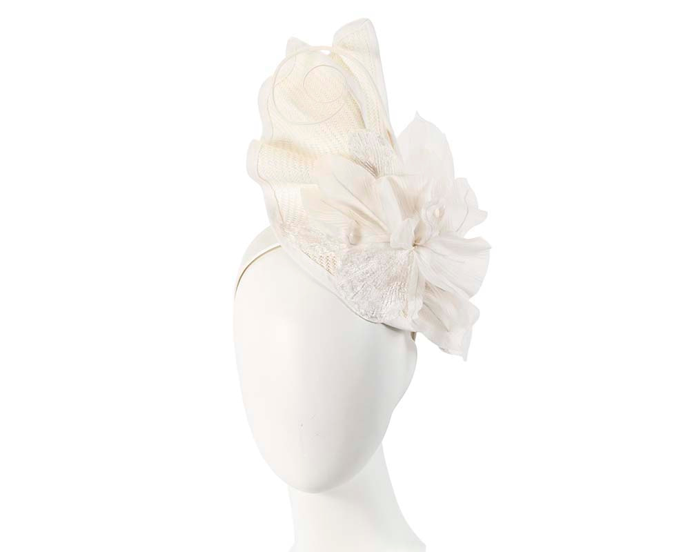 Bespoke white fascinator with flower