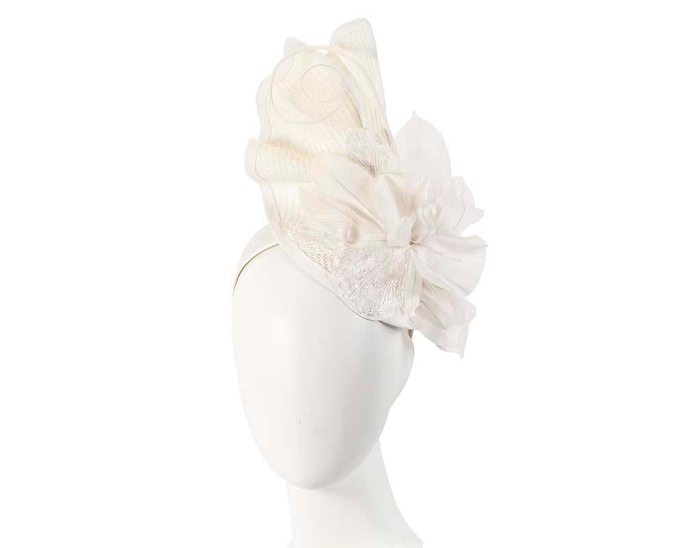 Bespoke white fascinator with flower