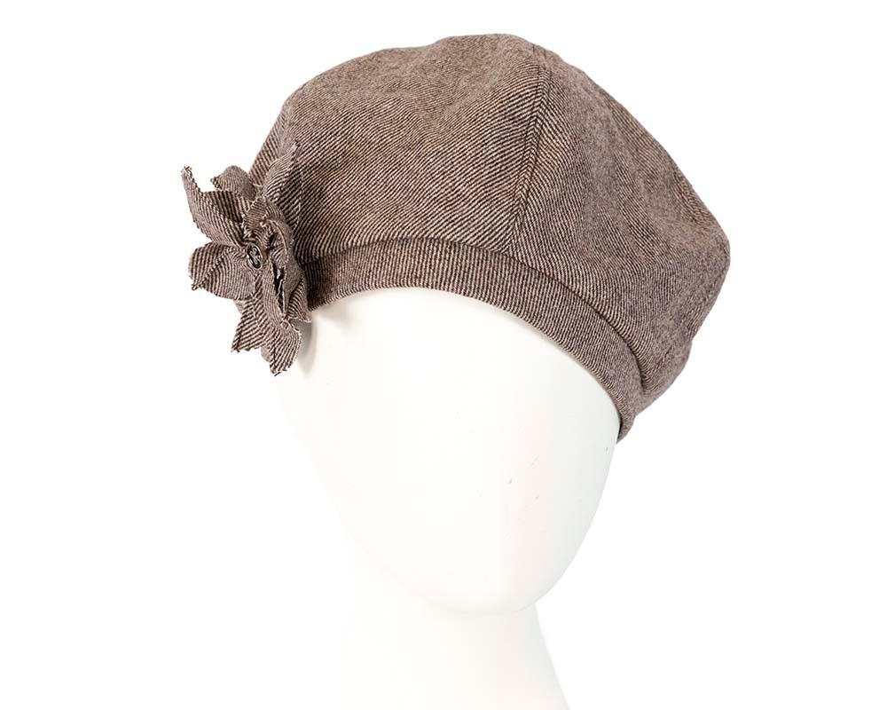 Brown winter ladies fashion beret hat by Max Alexander