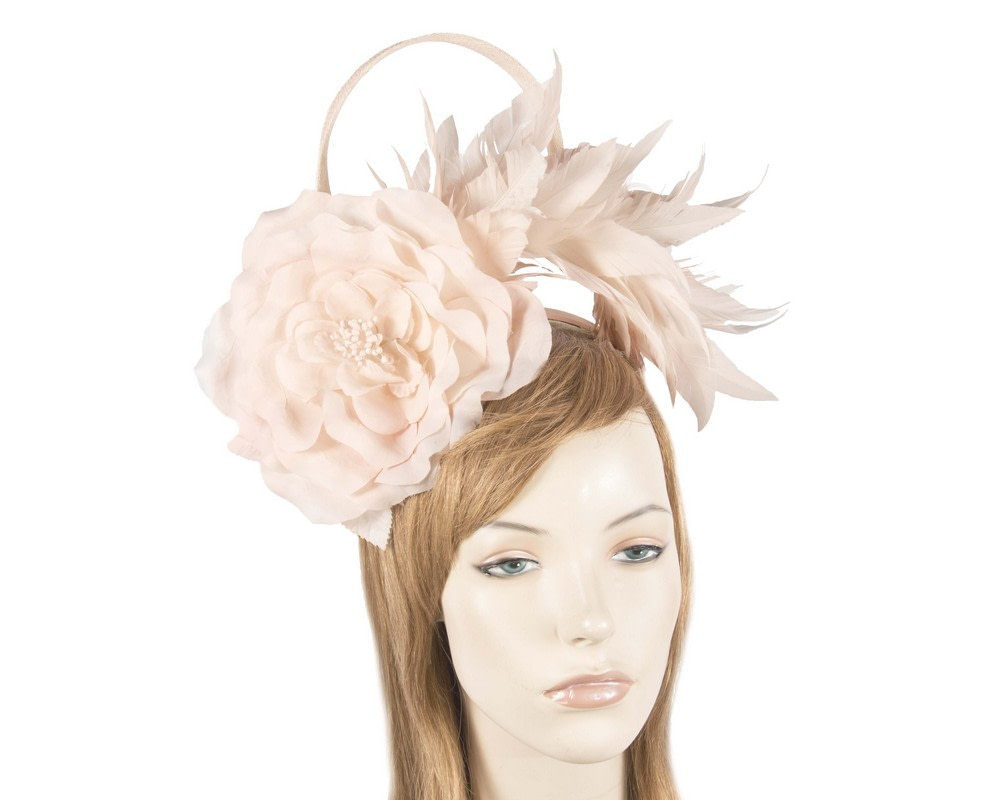 Pink flower & feathers fascinator