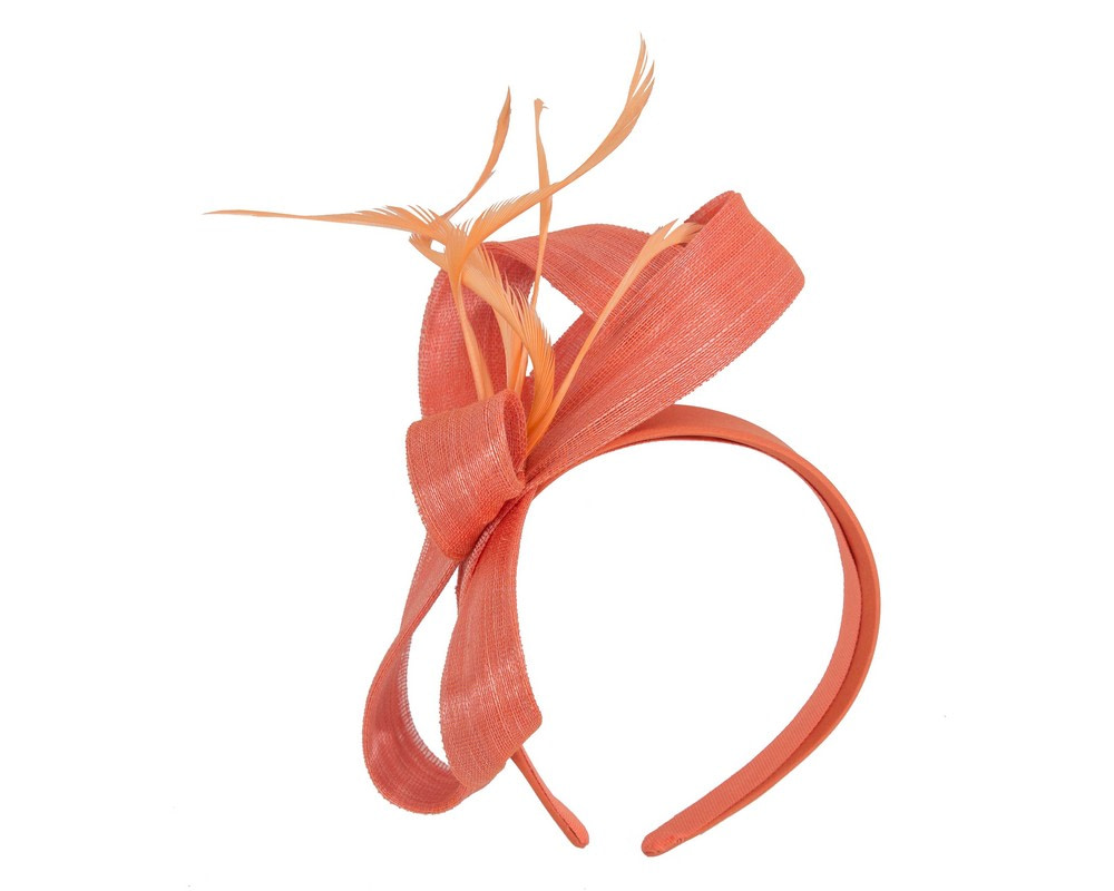 Orange abaca loops and feathers racing fascinator by Fillies Collection