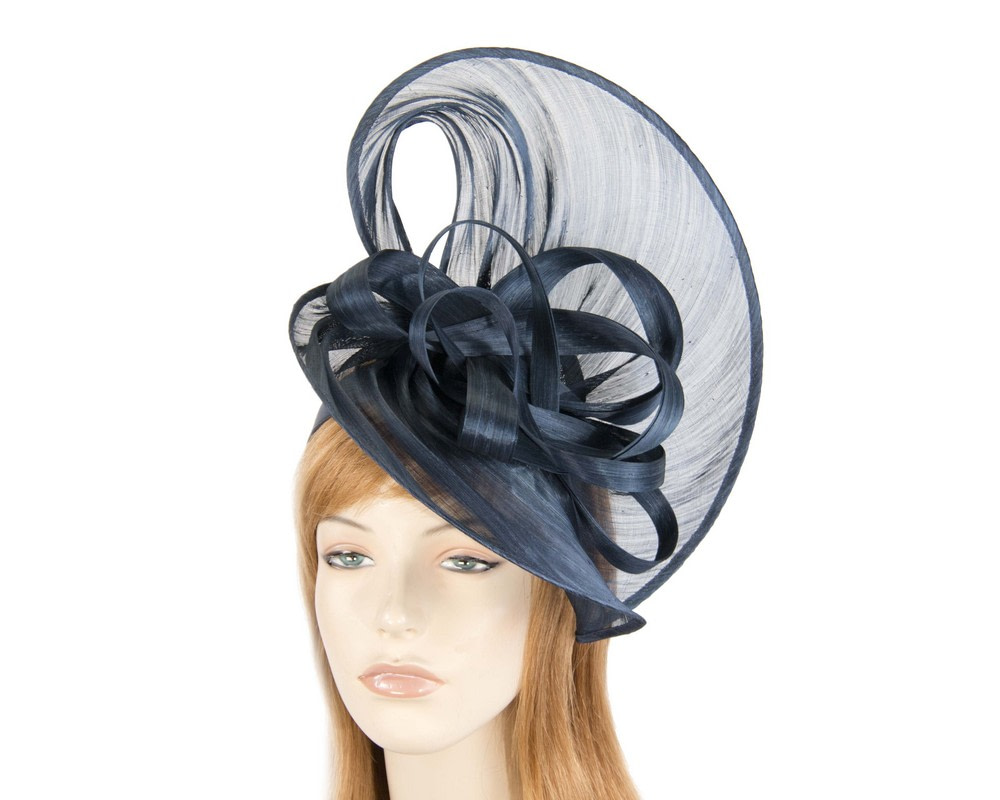 Large navy silk abaca heart fascinator