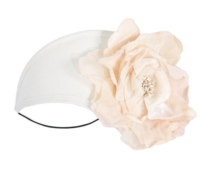 Cream & nude winter headband with flower