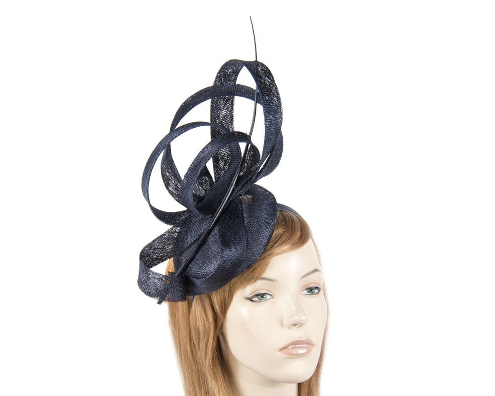Edgy tall navy fascinator