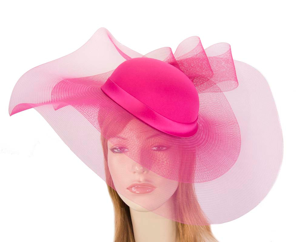 Fuchsia large brim custom made ladies hat