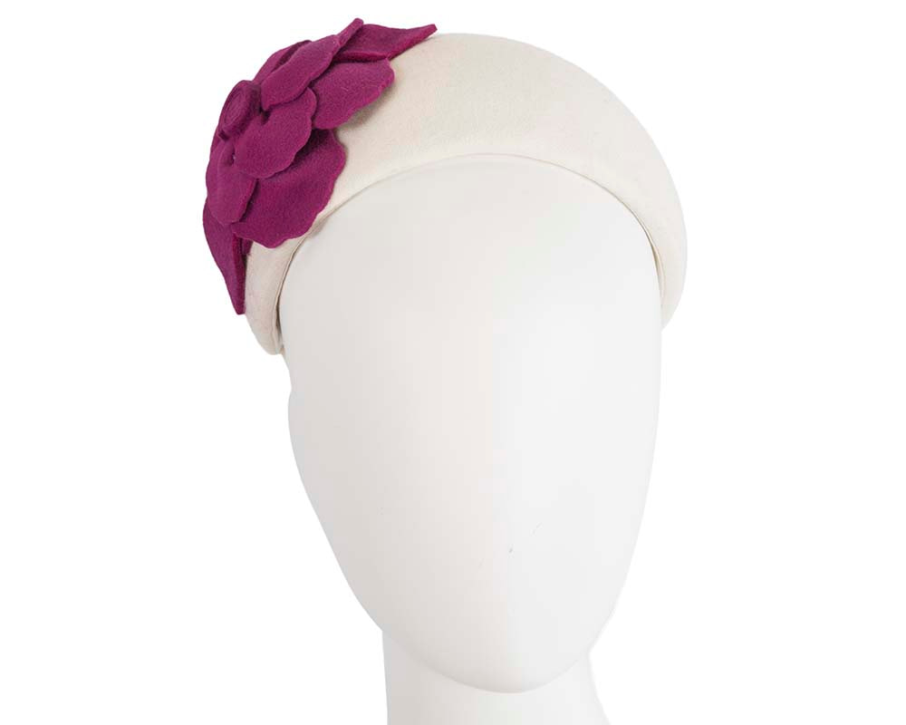 Wide cream & fuchsia winter headband with flower by Max Alexander