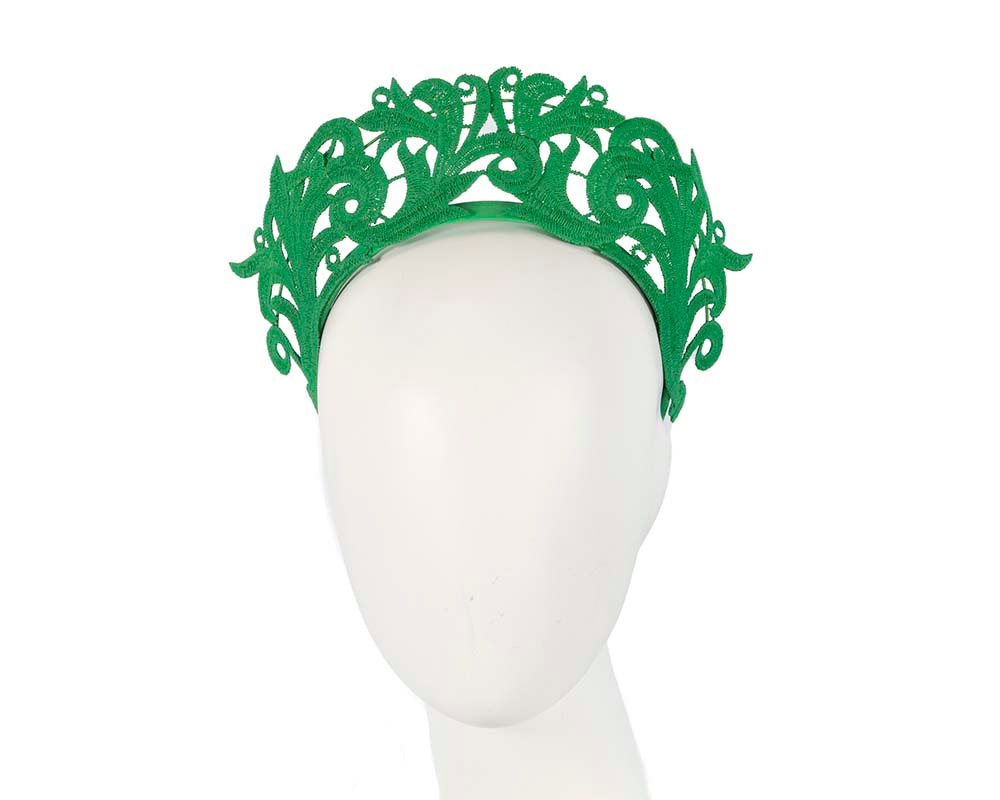 Modern green crown racing fascinator by Max Alexander