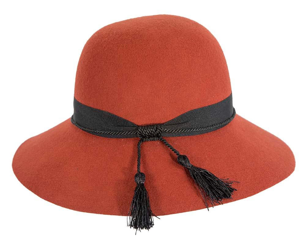 Wide brim orange winter cloche hat by Cupids Millinery Melbourne