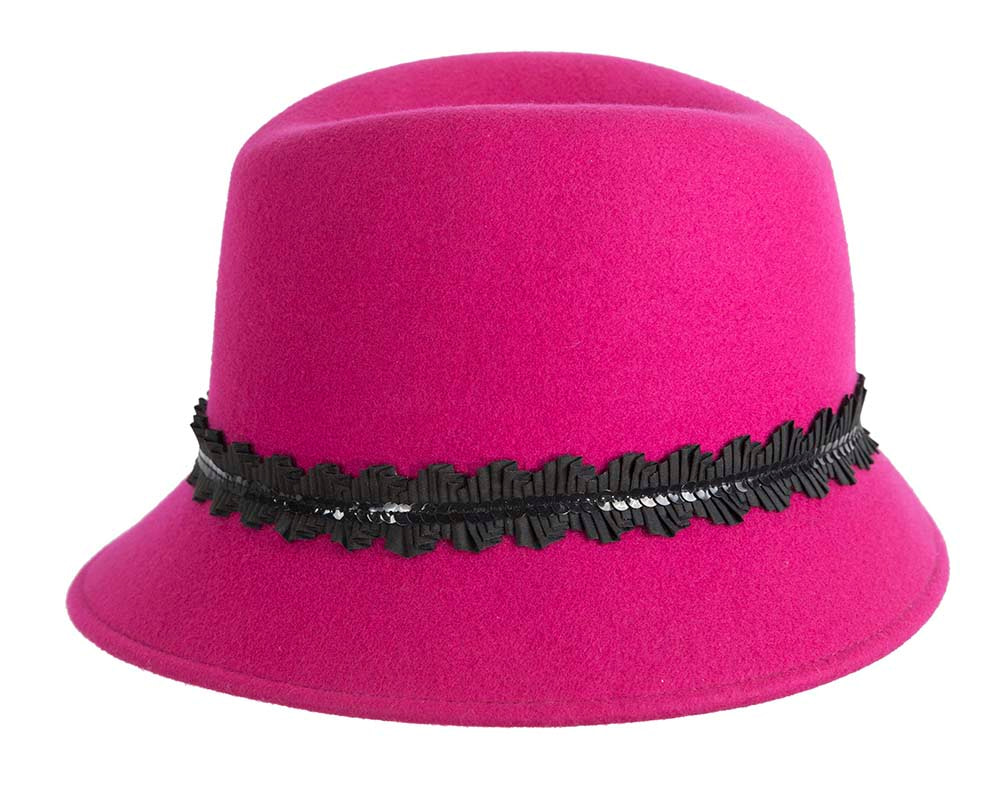 Hot Pink ladies winter felt fedora hat by Cupids Millinery