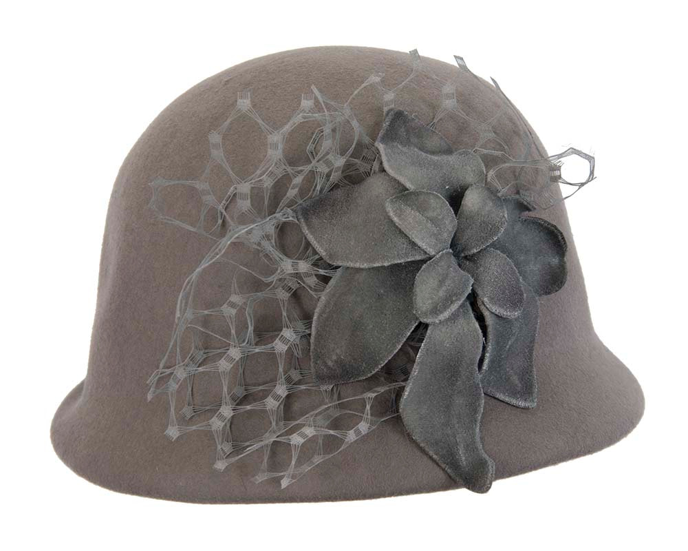 Grey felt bucket hat with flower by Fillies Collection