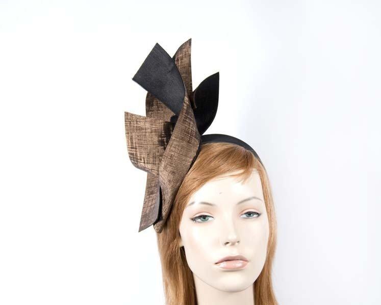 Bronze black leather fascinator