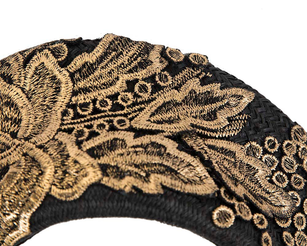Exclusive black & gold headband by Cupids Millinery