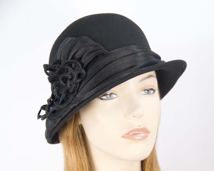 Black ladies fashion felt bucket hat by Fillies Collection