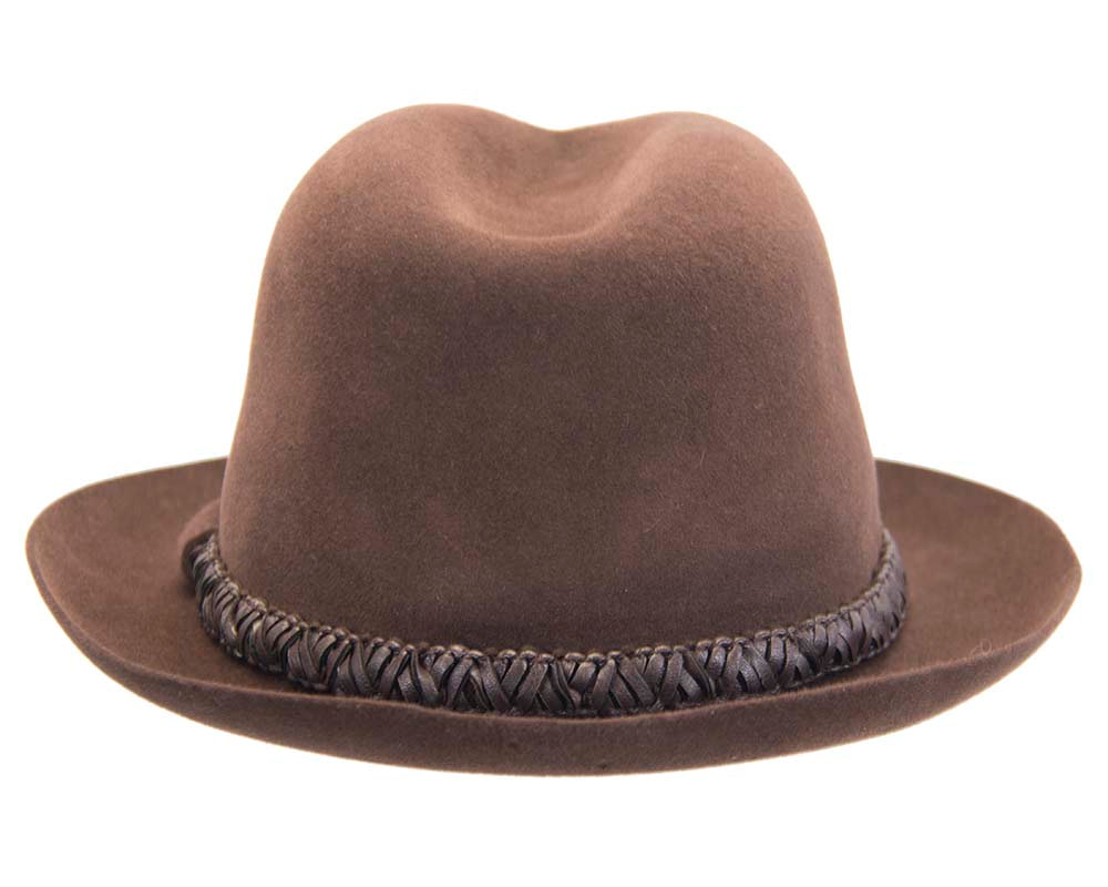 Brown unisex rabbit fur fedora hat with leather trim