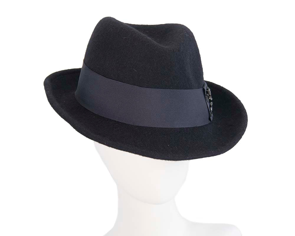 French navy mohair rabbit fur unisex fedora hat