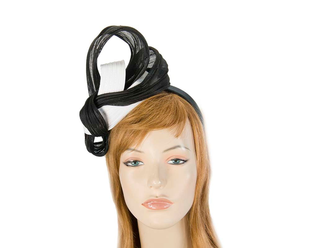 Fancy white & black racing fascinator by Fillies Collection