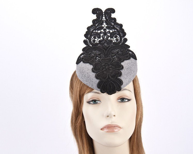 Silver pillbox fascinator with black lace F585S