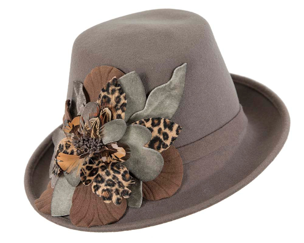 Designers grey winter fashion felt hat by Cupids Millinery