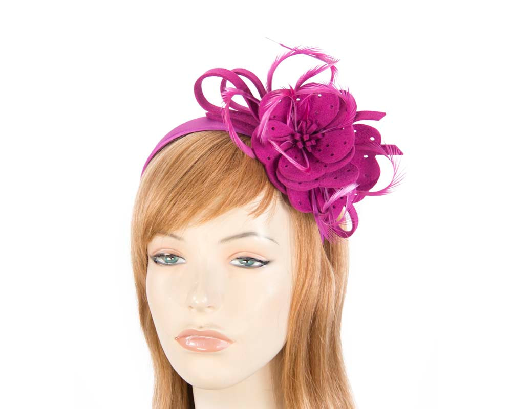 Fuchsia felt flower winter fascinator