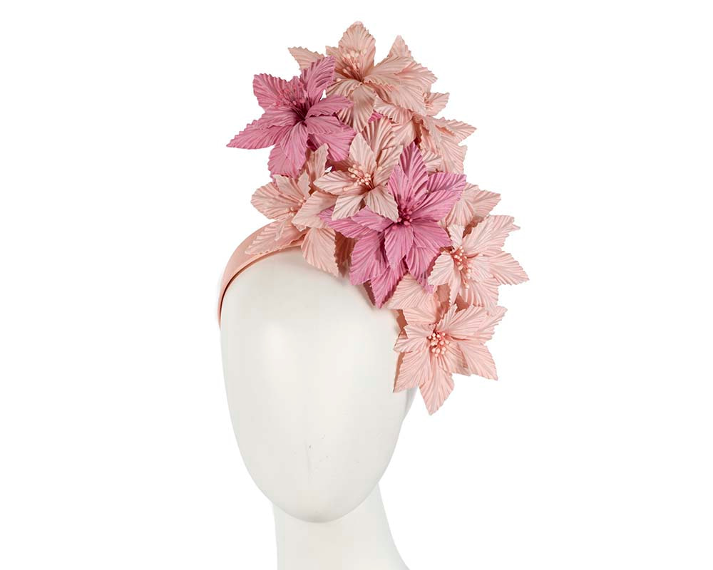 Bespoke pink flowers fascinator headband by Cupids Millinery