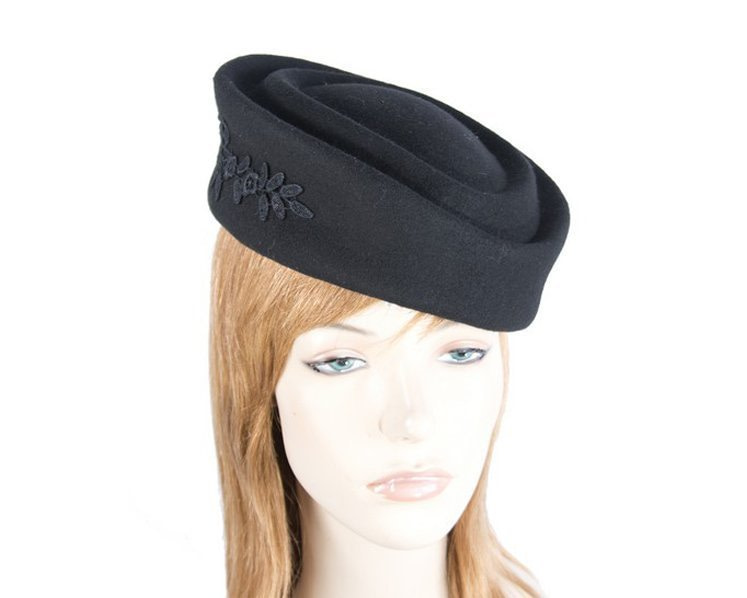 Large black felt beret hat with lace