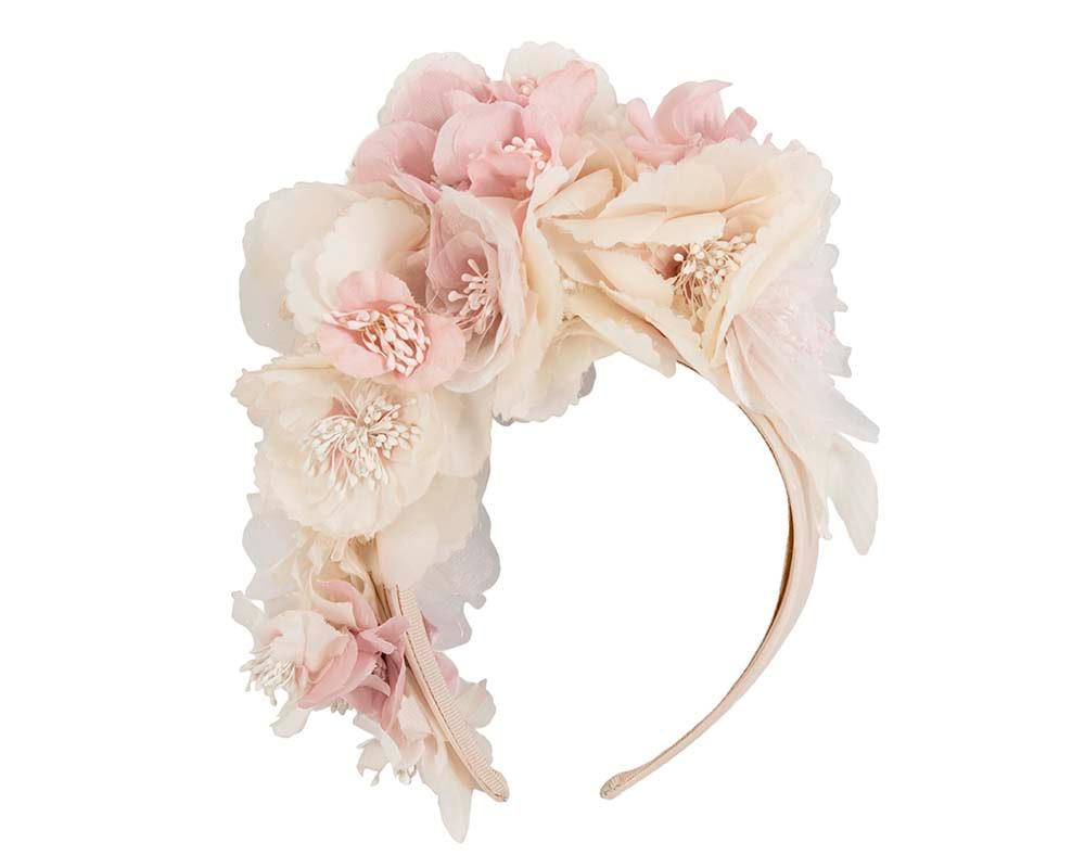Exclusive pink silk flower headband fascinator