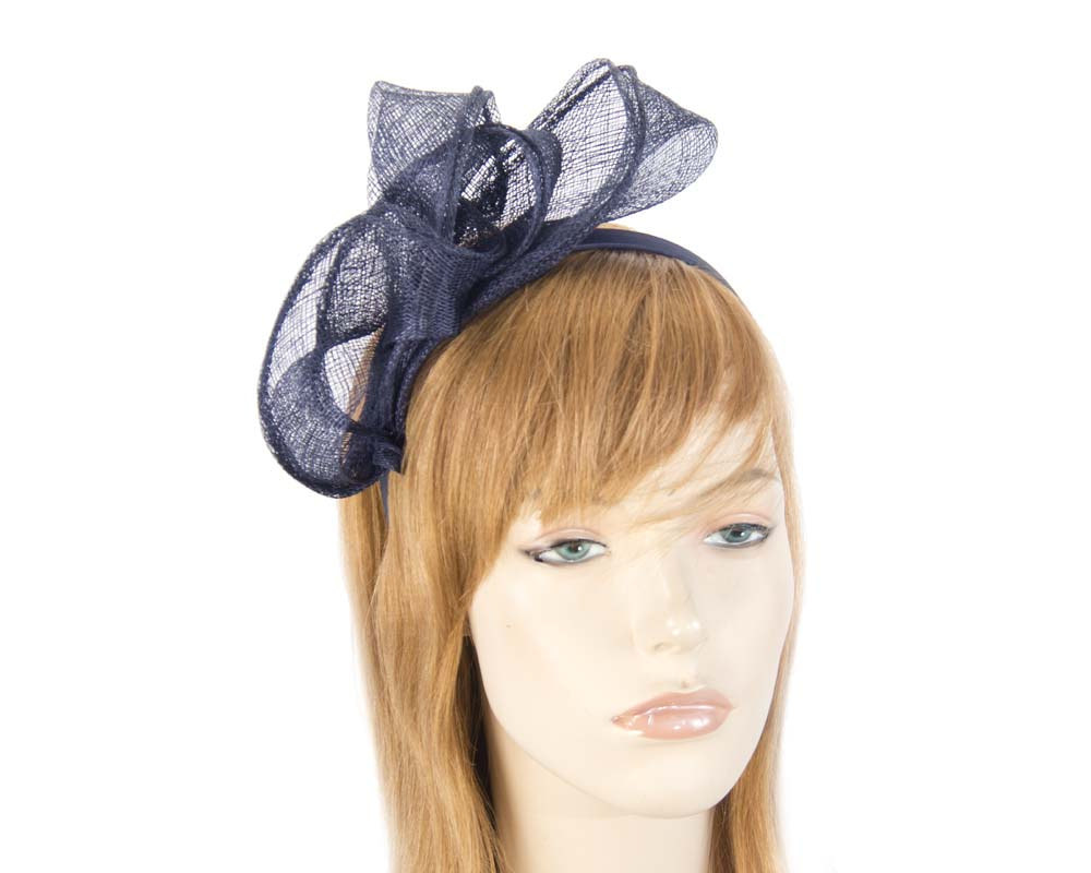 Pleated navy fascinator