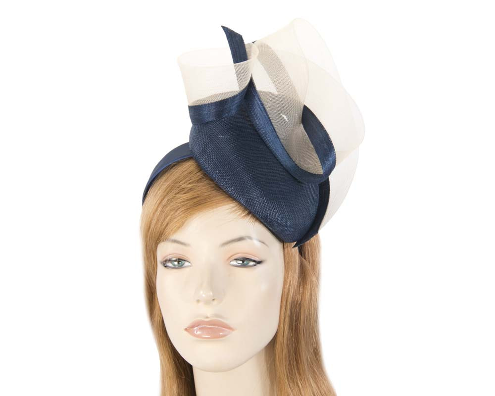 Tall navy & nude pillbox fascinator