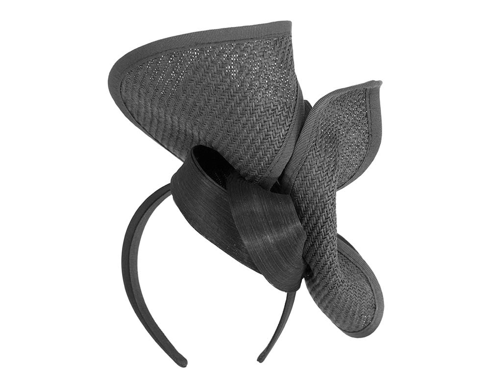 Large black Fillies Collection racing fascinator with bow