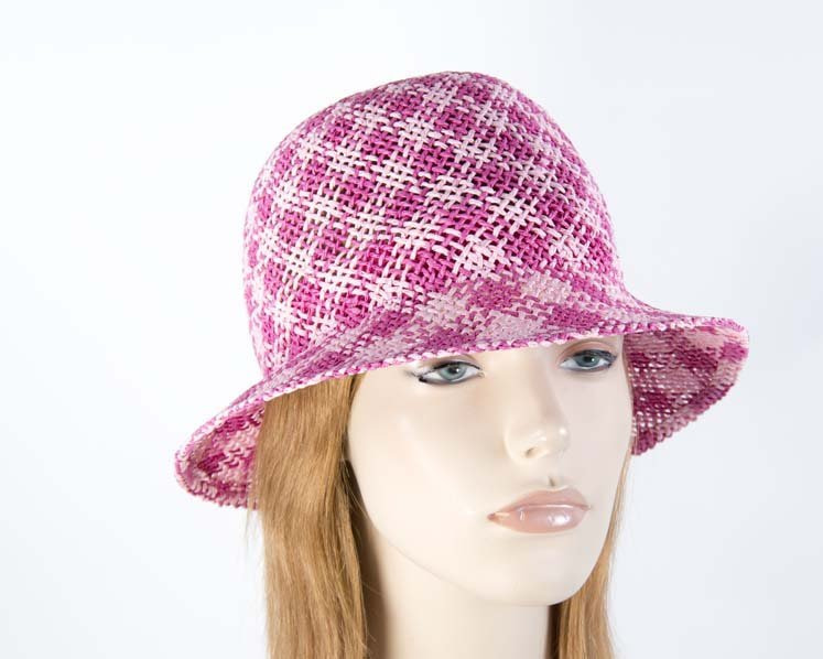 Crocheted fuchsia cloche hat