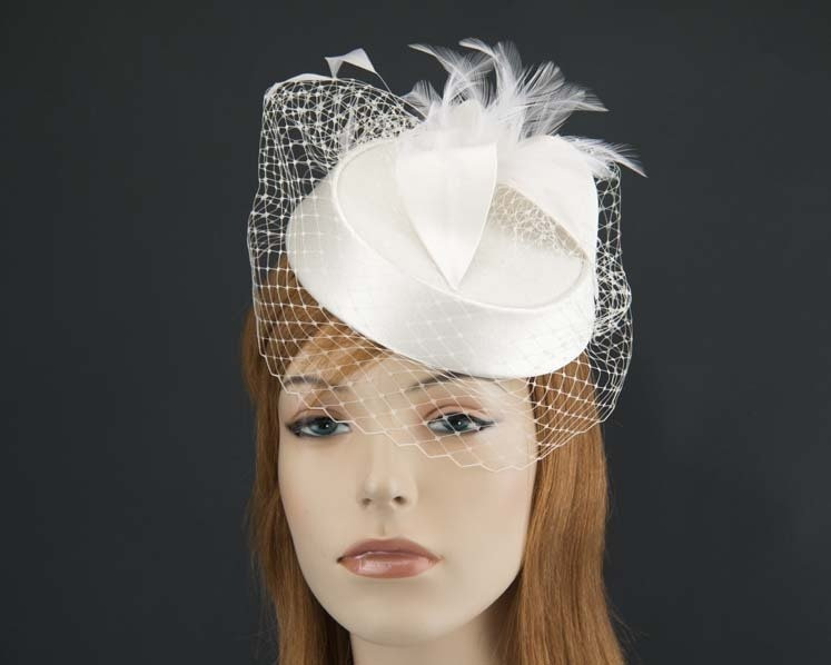 Cream cocktail Pillbox Hat for weddings buy online in Australia K4811C