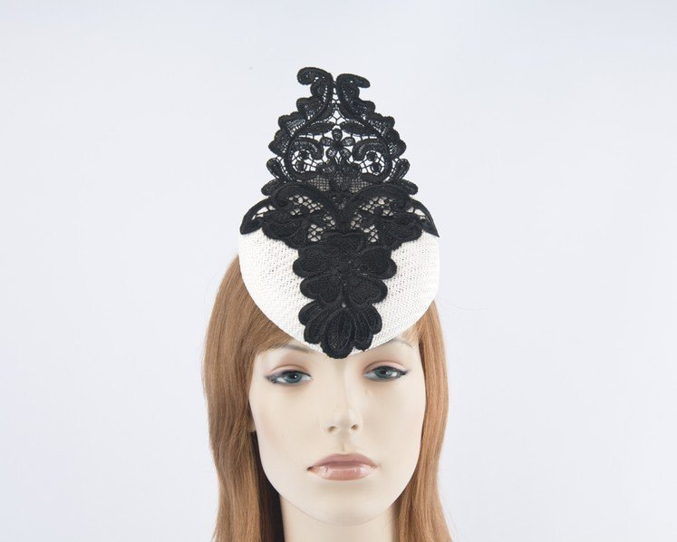 White pillbox fascinator hat with lace for Melbourne Cup races S168W