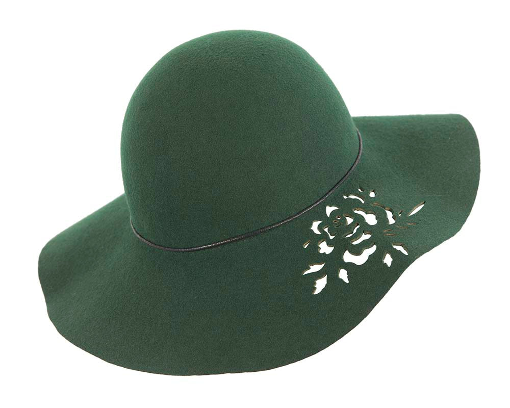 Olive wide brim cloche hat by Cupids Millinery