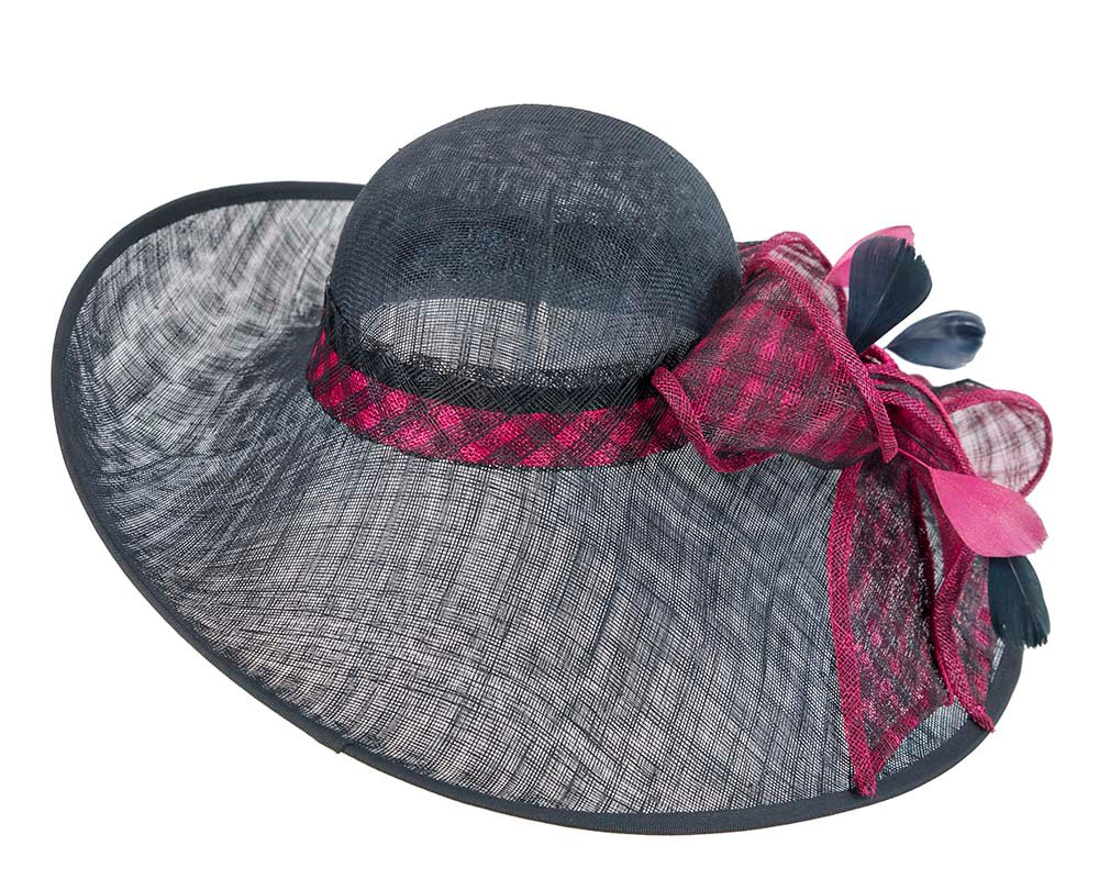 Large Navy & Fuchsia Ladies Fashion Racing Hat by Cupids Millinery
