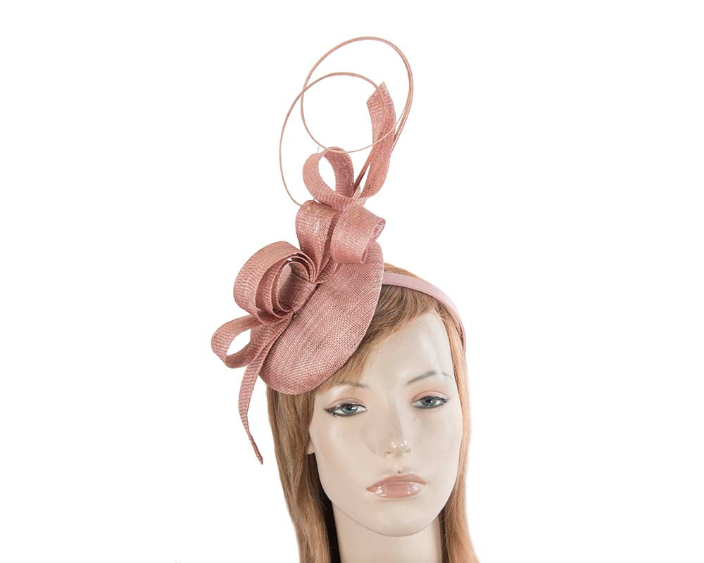 Tall dusty pink sinamay racing fascinator by Max Alexander