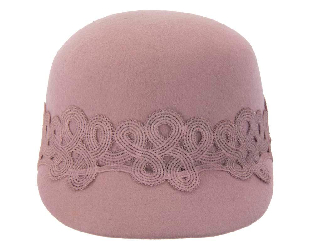 Large dusty pink felt cap