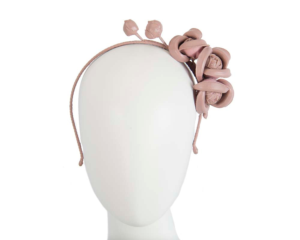 Taupe leather flowers headband by Max Alexander