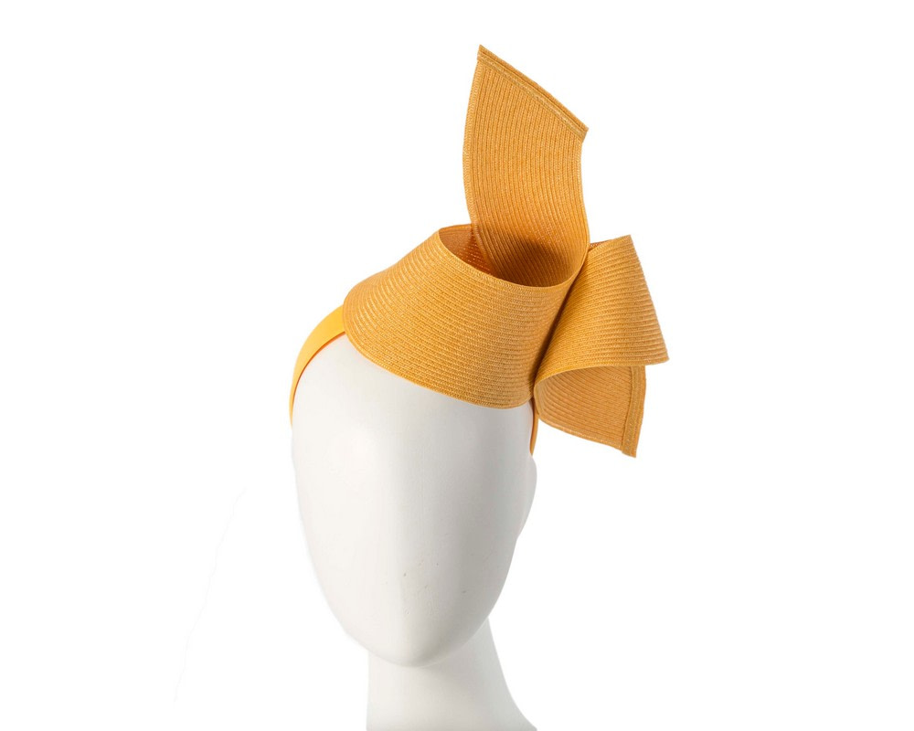 Modern mustard yellow fascinator by Max Alexander