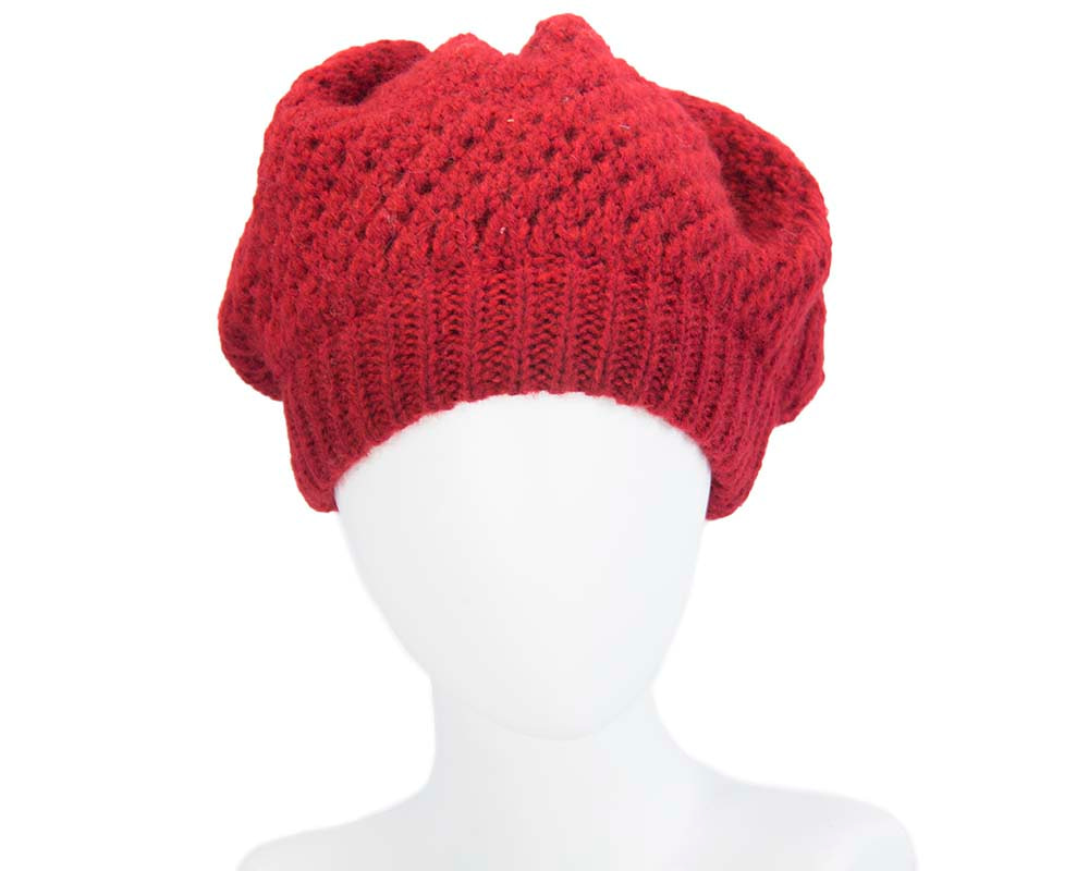 Red crocheted casual ladies beret hat