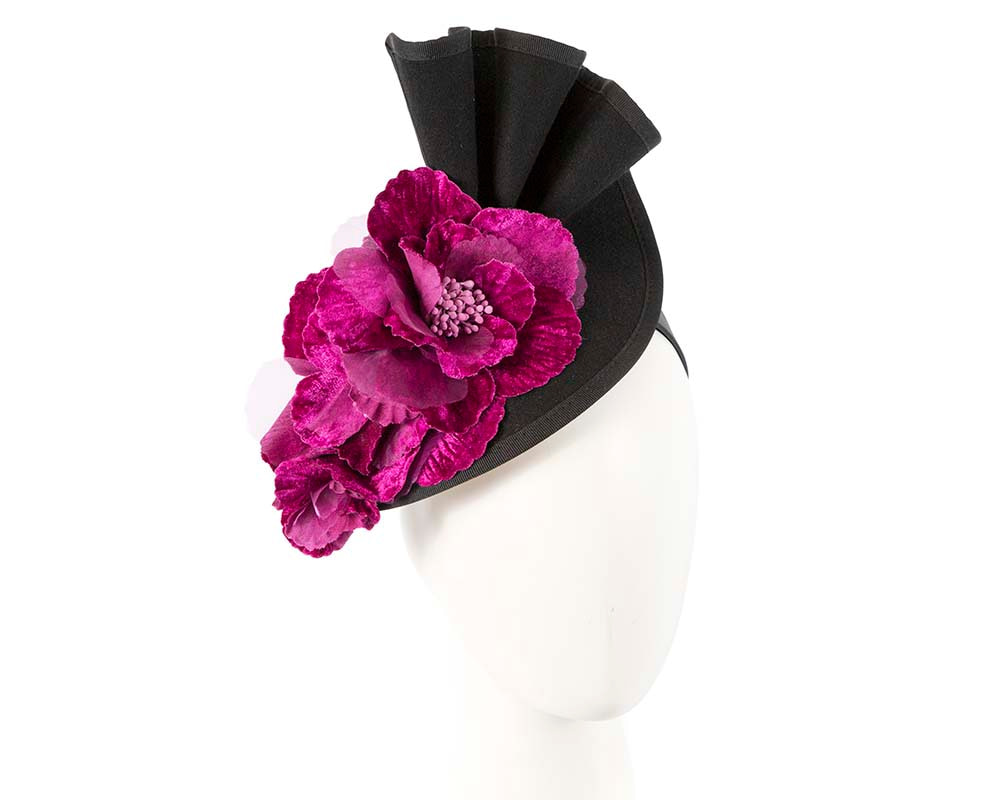 Large black felt purple flower winter racing fascinator