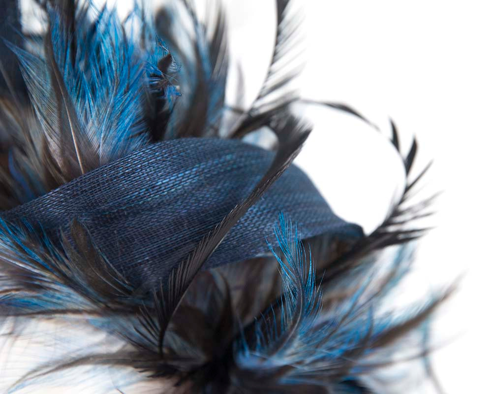 Eclusive navy feather fascinator by Cupids Millinery