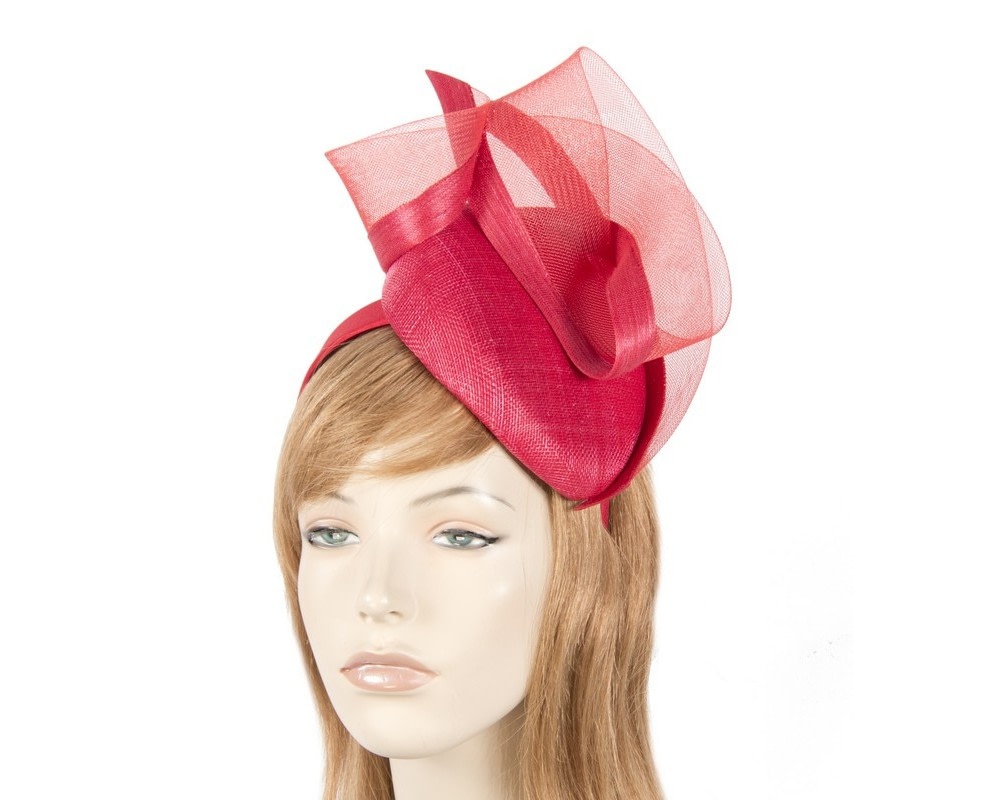 Tall red pillbox fascinator