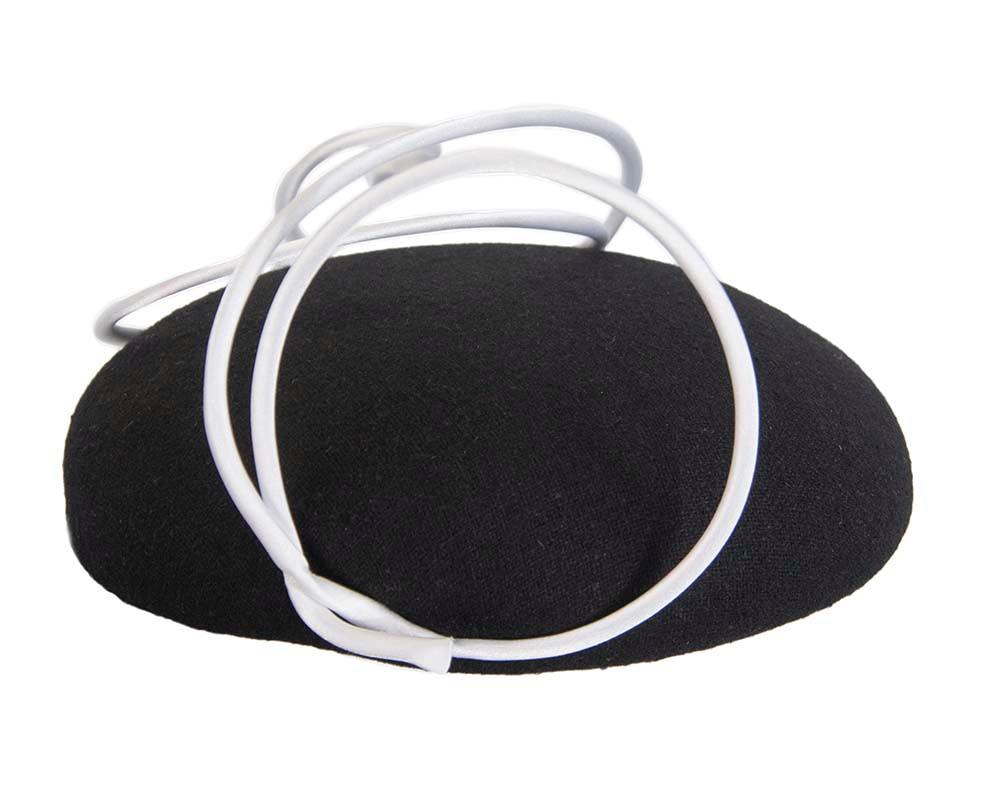 Black felt fascinator hat with white wire work