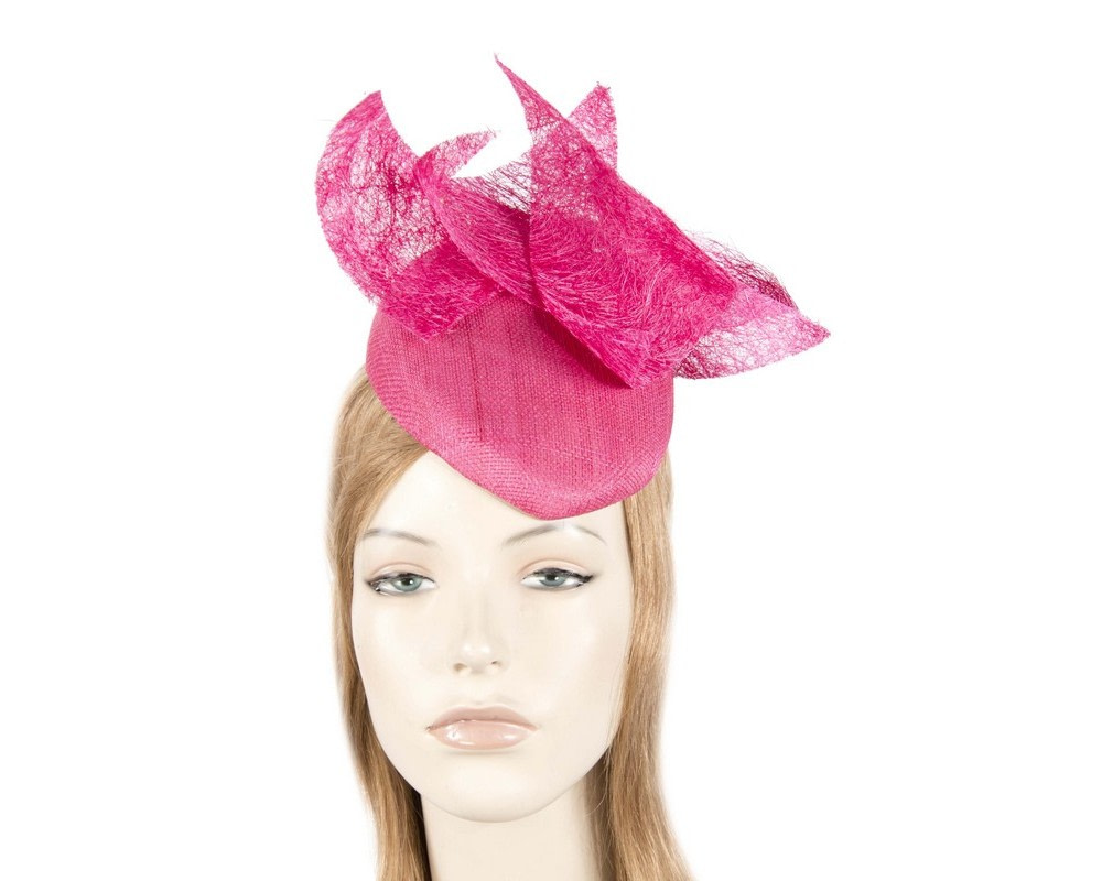 Fuchsia unusual pillbox fascinator by Fillies Collection