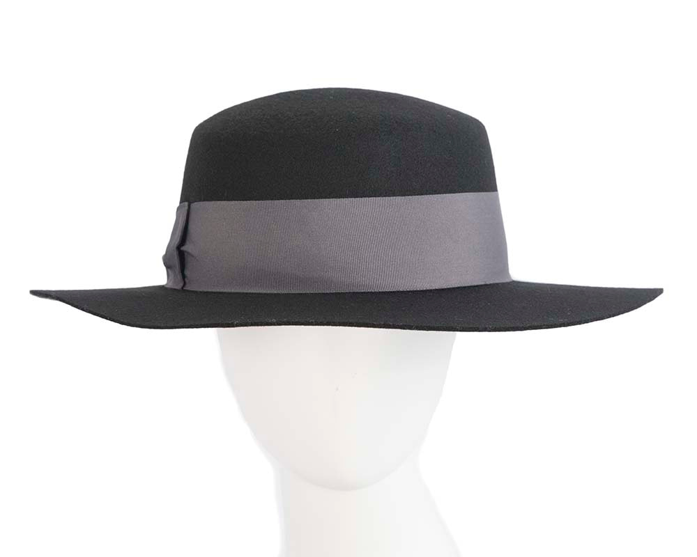 Wide brim ladies winter black felt boater by Cupids Millinery