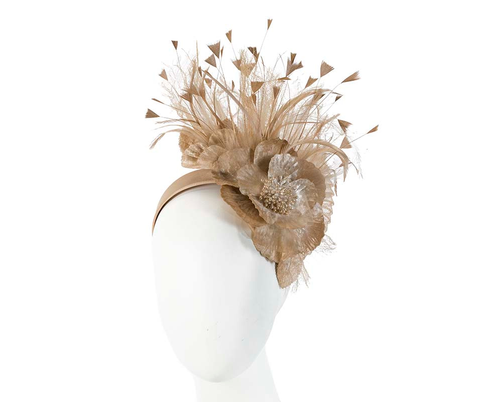 Gold designers flower fascinator