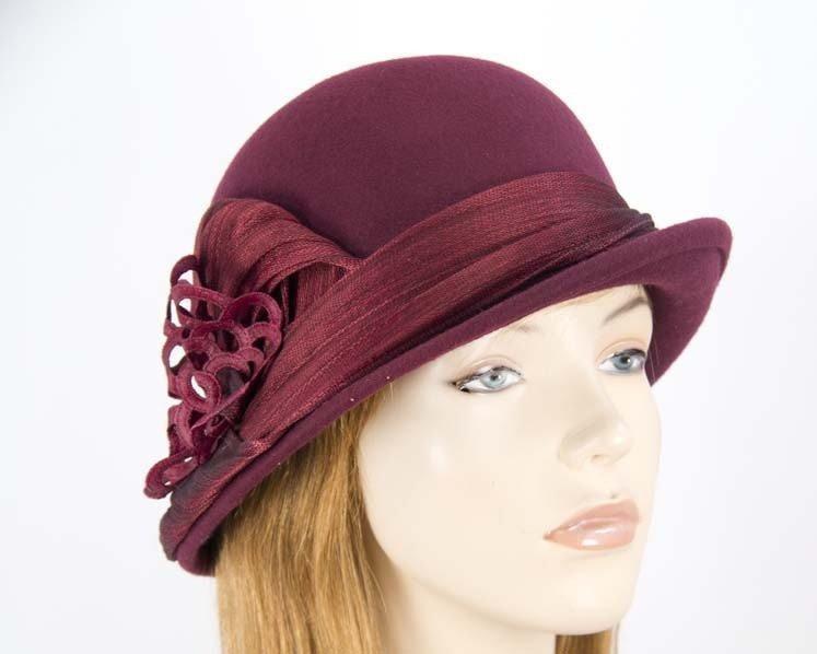 Burgundy wine ladies fashion felt bucket hat by Fillies Collection