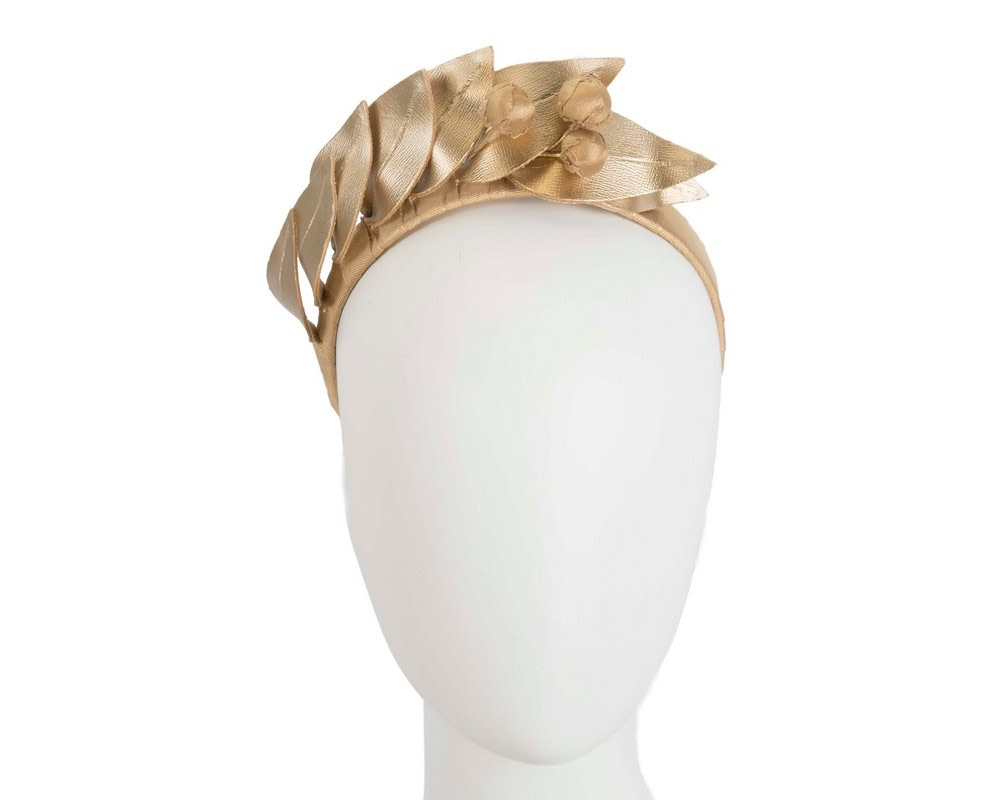 Gold sculptured leather headband racing fascinator by Max Alexander