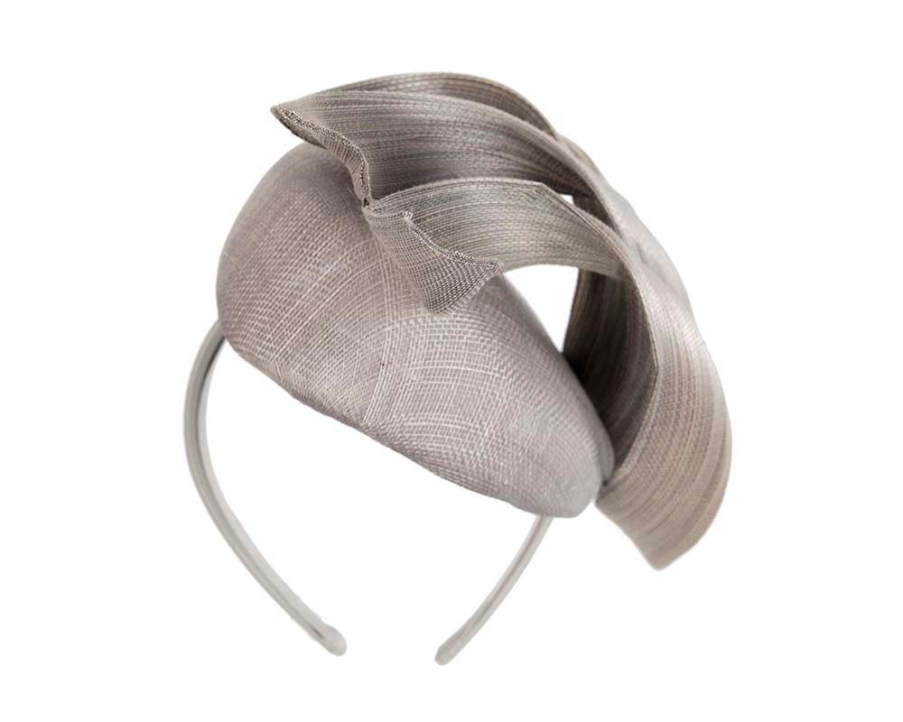 Bespoke silver pillbox fascinator by Fillies Collection