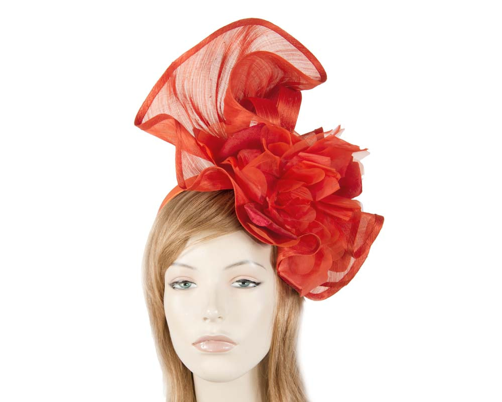 Bespoke large orange fascinator